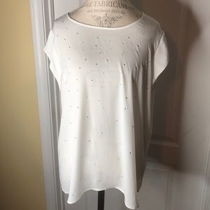 "Chico's Blouse ""Eggshell"" with Silver Studs Size L"